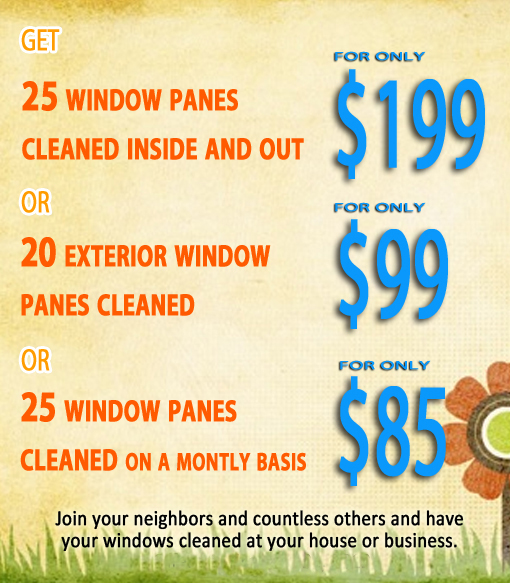 A graphic showing current package prices for residential window cleans