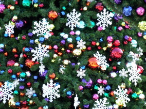 A photograph of Christmas tree decoration