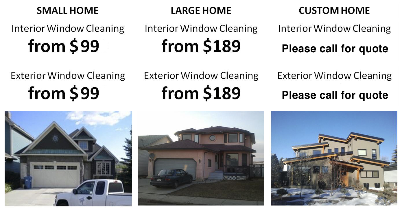 A guideline showing price ranges for window cleaning based on house type
